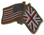 CROSSED FLAGS USA/UK LAPEL PIN