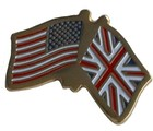 CROSSED FLAGS USA/UK LAPEL PIN (P-UJ/USA)