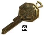 MG BRASS CRESTED FA KEY