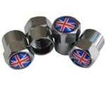 UNION JACK TIRE VALVE STEM CAPS (4)