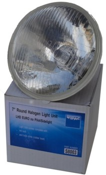 "WIPAC 7"" H4 LHD LIGHT UNIT C/W BULB (WIS8003)"