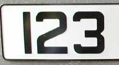 LICENSE PLATE WHITE/BLACK (LP-ALUM/WB)