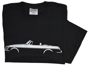 MGB SILHOUETTE ON BLACK T-SHIRT (T-MGB/BW)